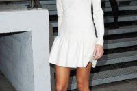 White mini drop waist dress and heels