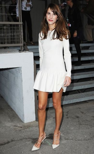 White mini drop waist dress and heels