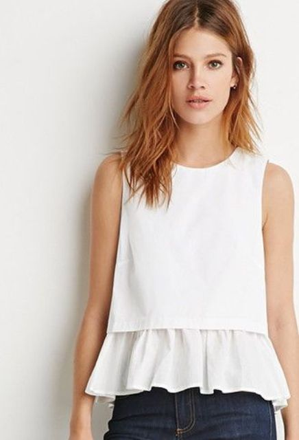 White ruffle top without sleeves