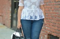 White sheer blouse with tank top and skinny jeans