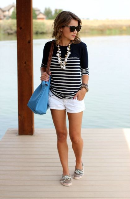 Blue And White Shorts Outfit - Hardon Clothes