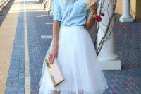 White tulle skirt with denim shirt