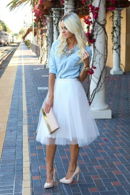 White tulle skirt with denim shirt