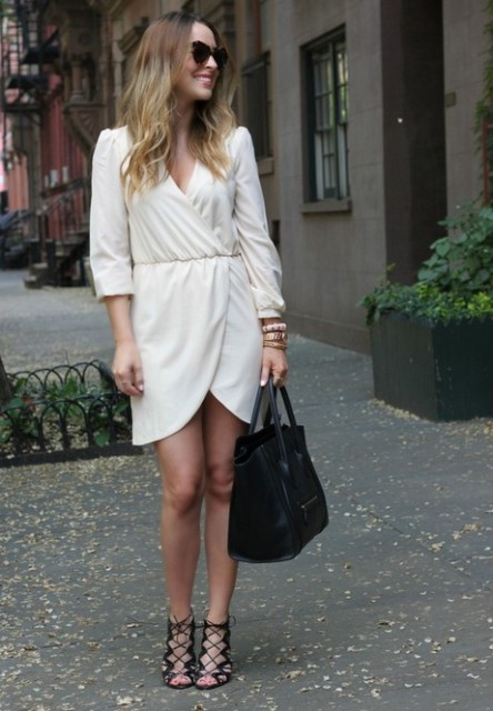White wrap dress with heels