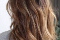 brown to caramel and blond ombre hair