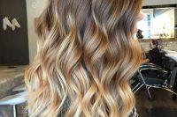 brown to caramel blond balayage highlights