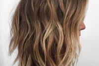 brown to caramel long bob hair