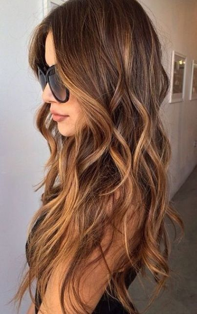 chocolate brown to caramel wavy long hair