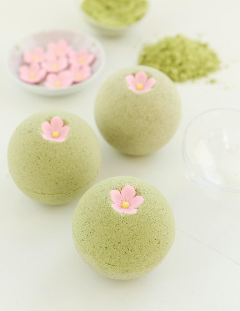 DIY sakura green tea bath bombs