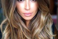 dark brown to blond ombre hair