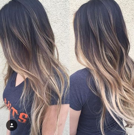Dark To Blond Balayage Long Hair