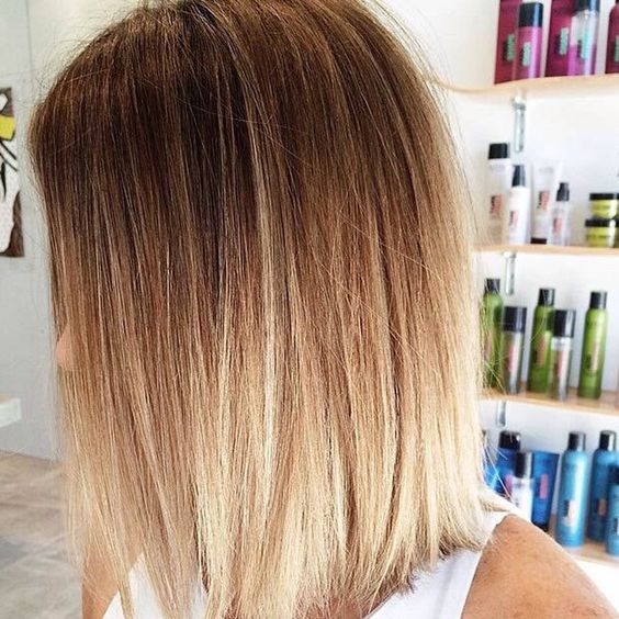 Picture Of Long Bob Brown To Blond