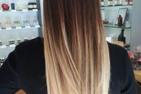 long brown to blond straight hair