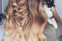 long brown to blond wavy hair