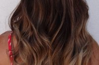 ombre brown to caramel wavy hair