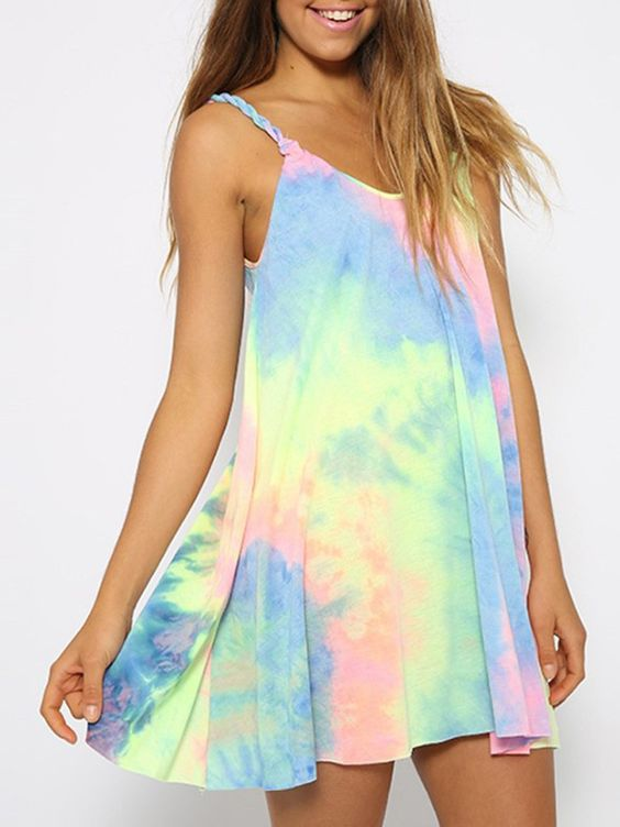 rainbow pattern mini dress with spaghetti straps