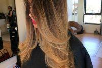 sleek brown to caramel hair