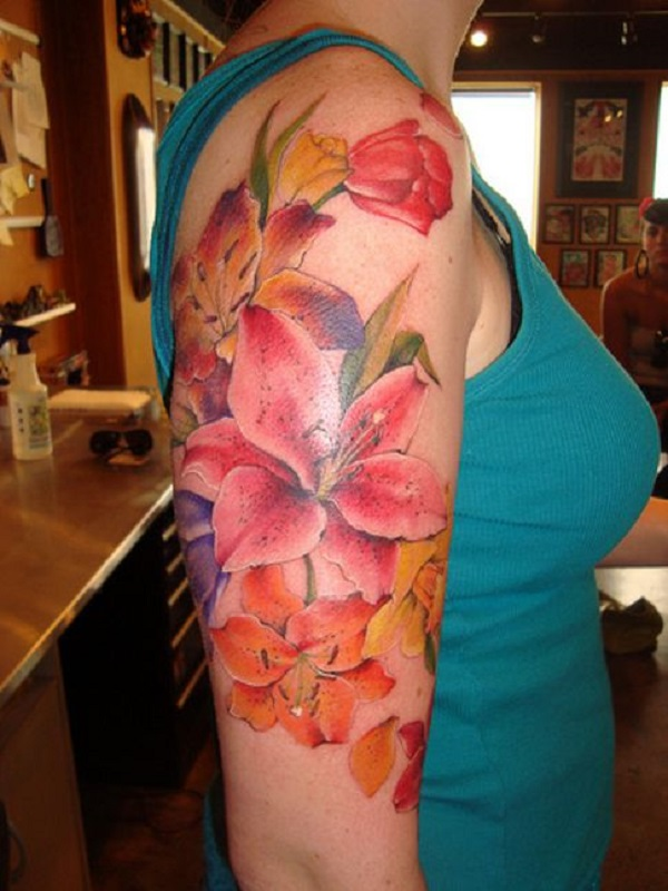 bold lilies on an arm