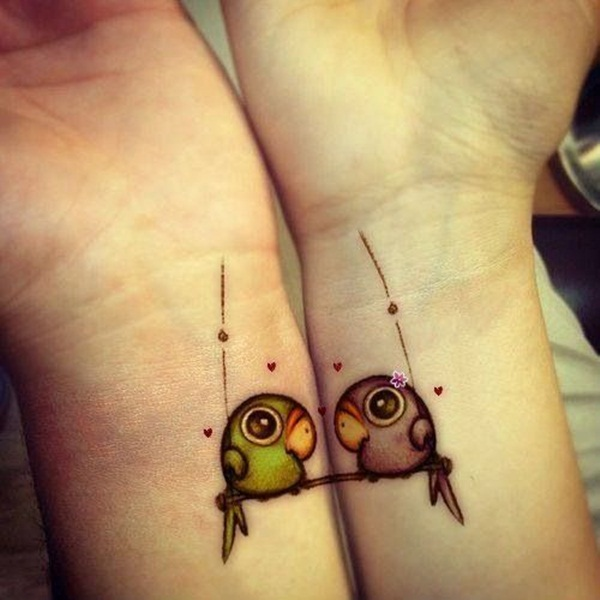 cute matching birdies design for couples