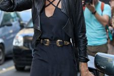04 a black romper and a black leather jacket
