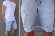 05 distressed blue denim shorts, a white tee and black sneakers