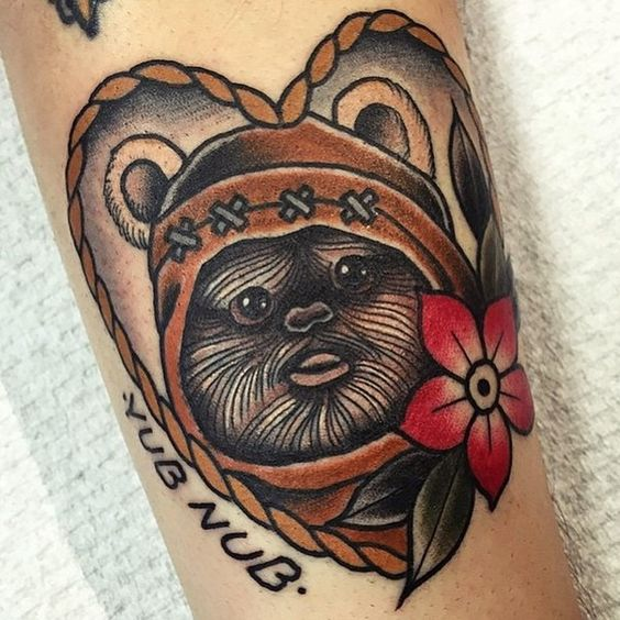 cute and colorful Ewok tattoo