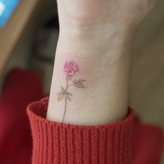 Tiny Colorful Rose Wrist Tattoo