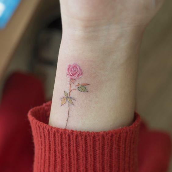 Tiny Colorful Rose Wrist Tattoo