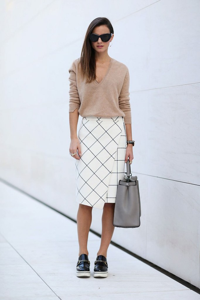 a printed skirt, a blush long sleeve, platform shoes