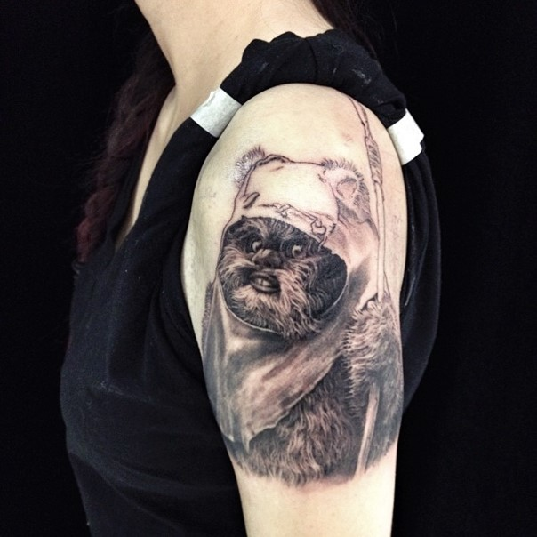 black Ewok on a shoulder