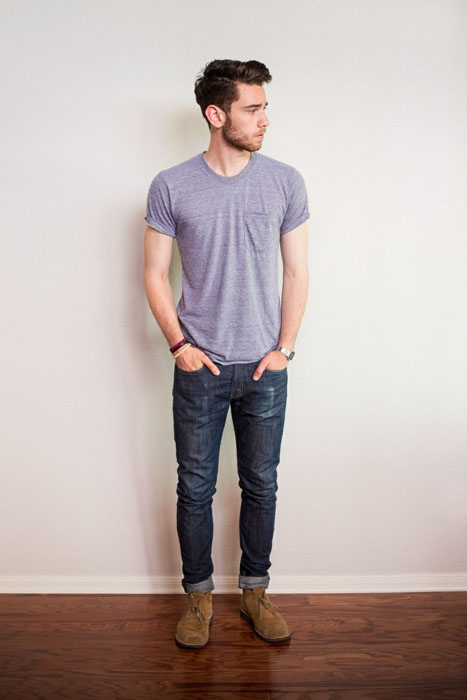 blue jeans, a grey tee and brown suede shoes