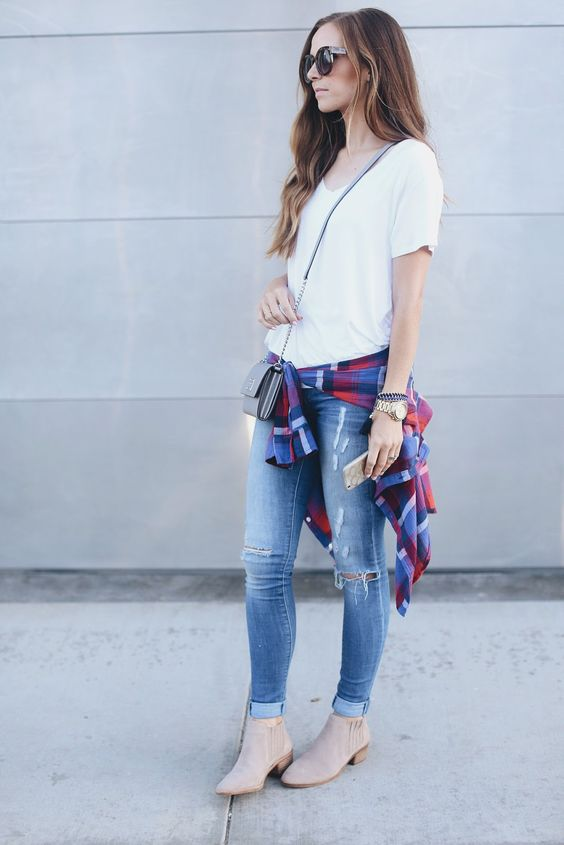07 blue jeans, a white tee, a plaid shirt and booties