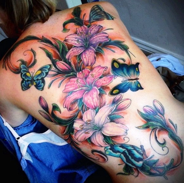 colorful lily full piece on the back