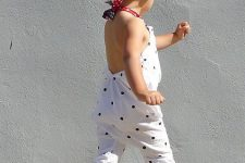 08 dotted sunsuit with red sneakers