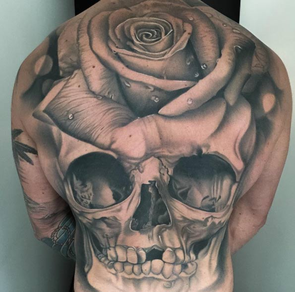 full back piece skull and rose