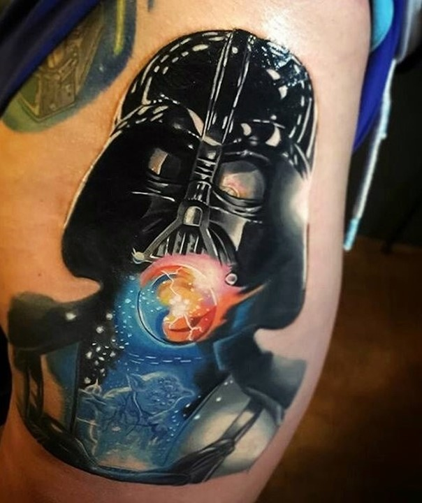 Darth Vader and Yoda mix tattoo