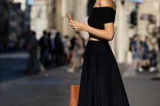 09 black off the shoulder crop top and a black pleated maxi