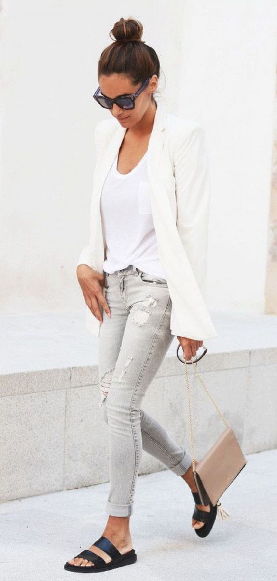 Picture Of Grey Jeans A White Top A White Jacket And Black Slippers Work Outfit