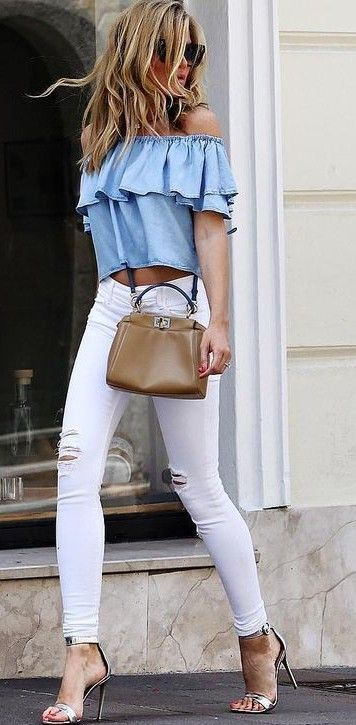 distressed white jeans, a serenity off the shoulder top and heels