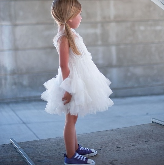 11 white tutu dress with blue sneakers