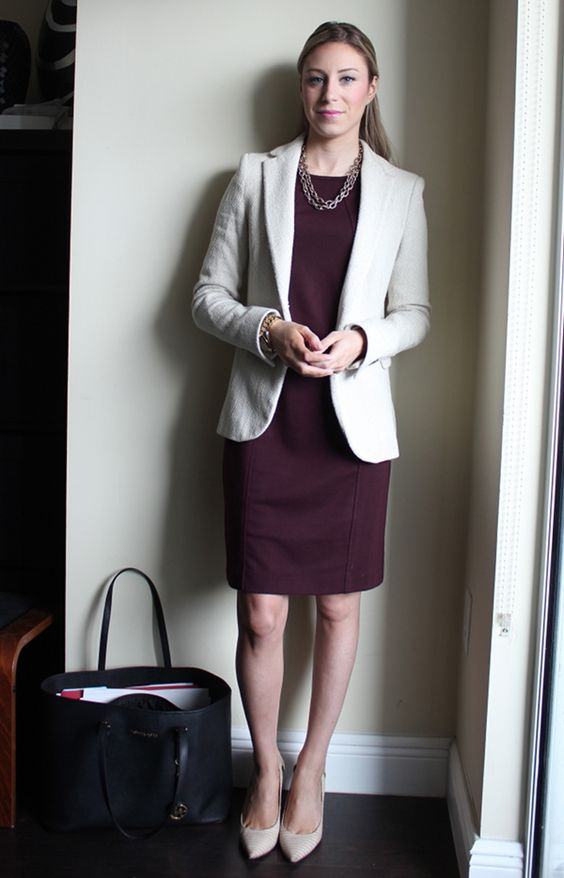 a burgundy dress, a tweed blazer and blush shoes