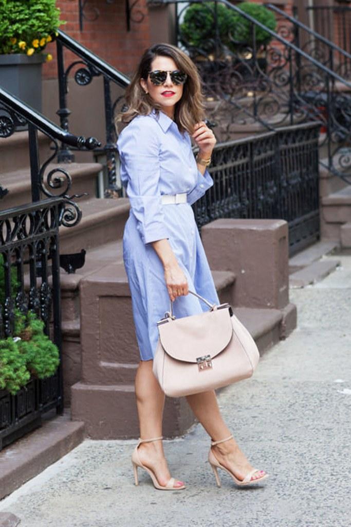 a chambray midi dress, blush shoes, a blush belt and bag