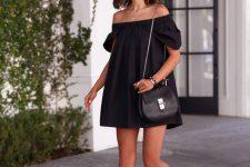 14 black off the shoulder dress and sandals