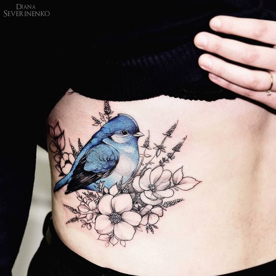 blue bird with tribal flowers