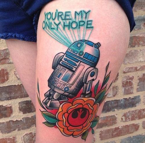 bold R2D2 leg tattoo