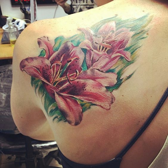 pink watercolor lilies on the back