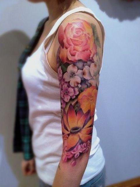 vibrant floral sleeve