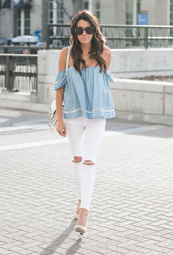 14 white denim skinny jeans with knee rips, styled with a chambray off-the-shoulder top