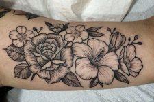 15 black and grey peony flower arm tattoo