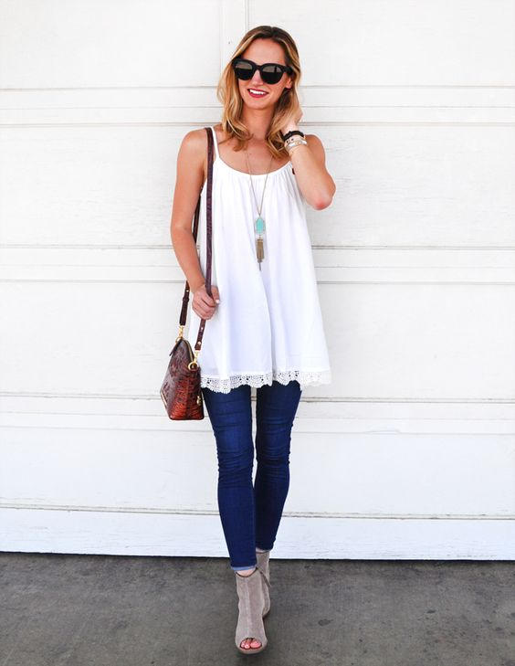 white crochet hem dress, blue jeans, grey suede booties